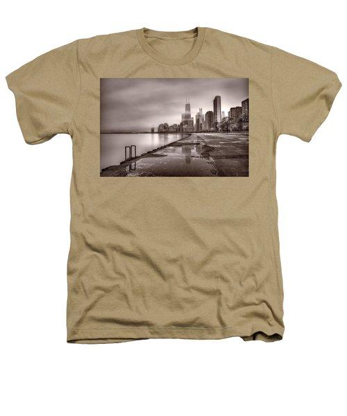 Chicago Foggy Lakefront Bw Heathers T-Shirt by Steve Gadomski