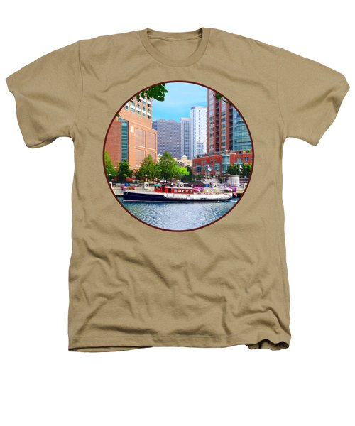 Chicago Il - Chicago River Near Centennial Fountain Heathers T-Shirt by Susan Savad