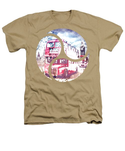 City-art London Red Buses On Westminster Bridge Heathers T-Shirt by Melanie Viola