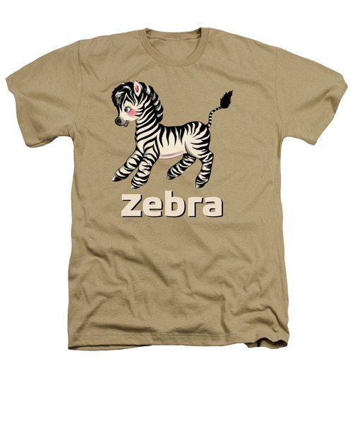 Cute Baby Zebra Pattern Vintage Book Illustration Pattern Heathers T-Shirt by Tina Lavoie
