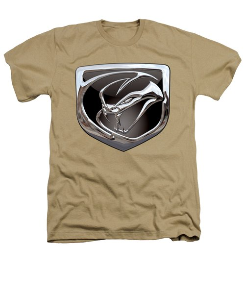 Dodge Viper 3 D  Badge Special Edition On Yellow Heathers T-Shirt by Serge Averbukh