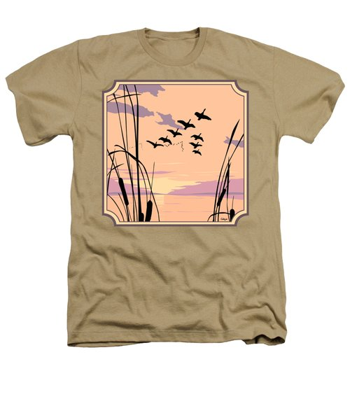 Ducks Flying Over The Lake Abstract Sunset - Square Format Heathers T-Shirt by Walt Curlee