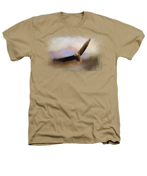 Eagle At The Mountain Heathers T-Shirt by Jai Johnson