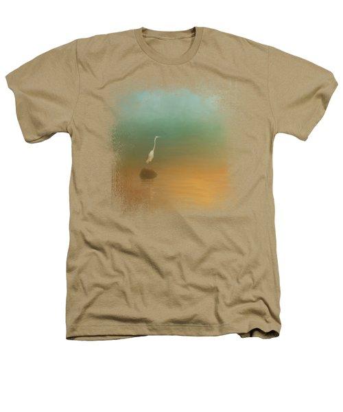 Egret At Sea Heathers T-Shirt by Jai Johnson