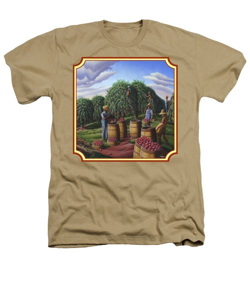 Farm Americana - Autumn Apple Harvest Country Landscape - Square Format Heathers T-Shirt by Walt Curlee