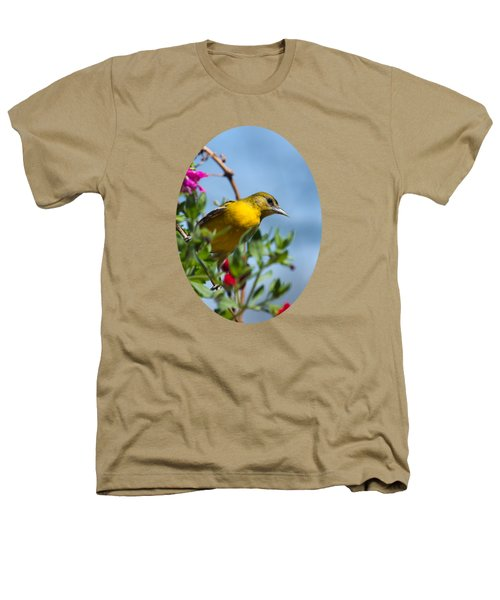 Female Baltimore Oriole In A Flower Basket Heathers T-Shirt by Christina Rollo