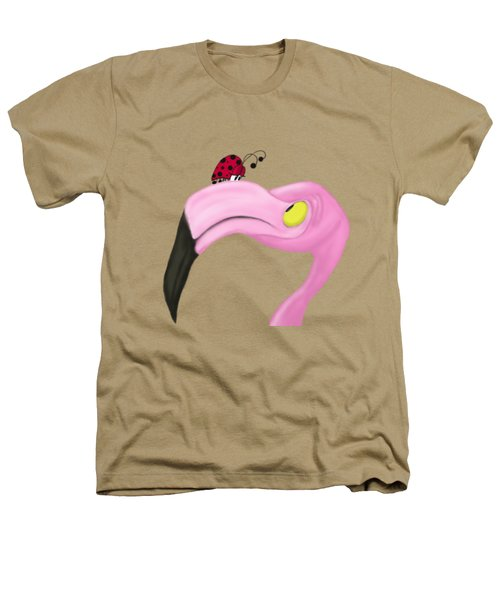 Fiona The Flamingo And Her Visitor Heathers T-Shirt by Michelle Brenmark