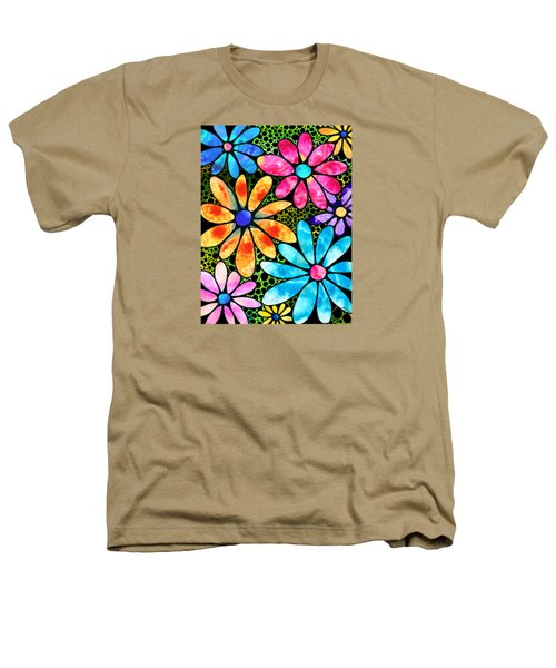Floral Art - Big Flower Love - Sharon Cummings Heathers T-Shirt by Sharon Cummings