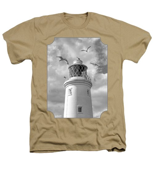 Fly Past - Seagulls Round Southwold Lighthouse In Black And White Heathers T-Shirt by Gill Billington