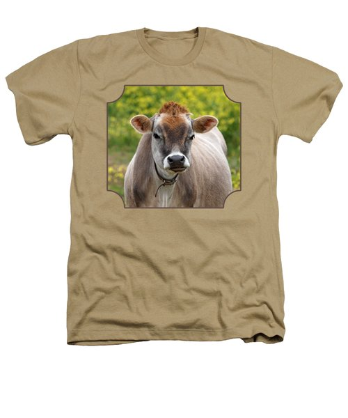 Funny Jersey Cow - Horizontal Heathers T-Shirt by Gill Billington