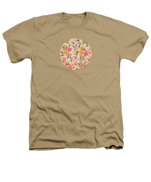 Golden Flitch Digital Vintage Retro  Glitched Pastel Flowers  Floral Design Pattern Heathers T-Shirt by Philipp Rietz