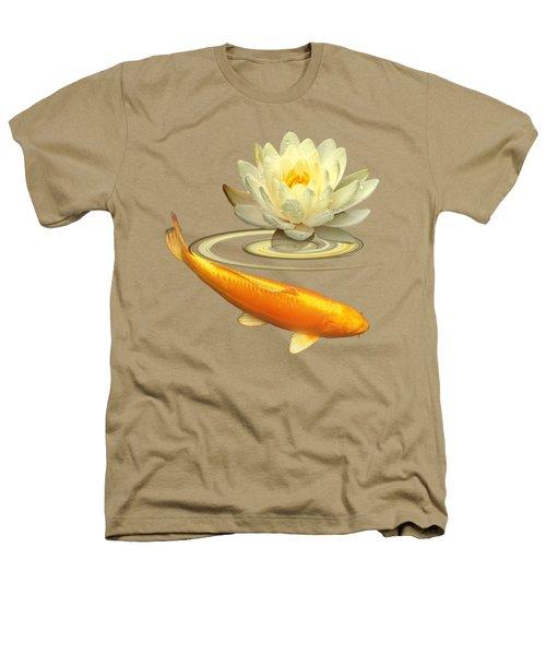 Golden Harmony - Koi Carp With Water Lily Heathers T-Shirt by Gill Billington