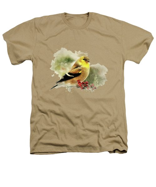 Goldfinch Watercolor Art Heathers T-Shirt by Christina Rollo