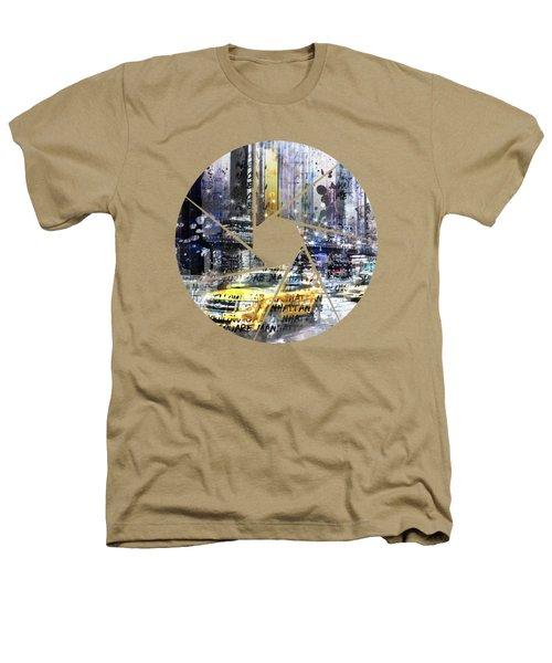 Graphic Art New York City Taxis And Manhattan Skyline Heathers T-Shirt by Melanie Viola