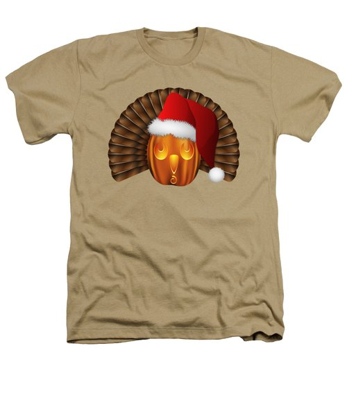 Hallowgivingmas Santa Turkey Pumpkin Heathers T-Shirt by MM Anderson