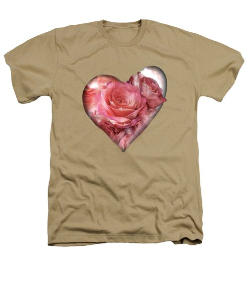 Heart Of A Rose - Melon Peach Heathers T-Shirt by Carol Cavalaris