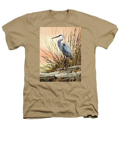 Heron Sunset Heathers T-Shirt by James Williamson