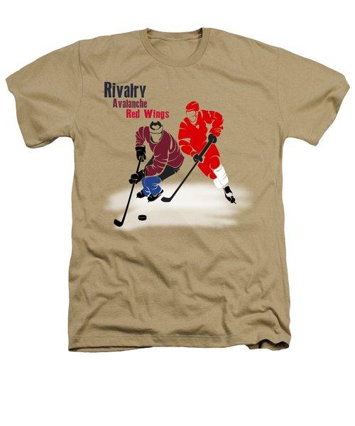 Hockey Rivalry Avalanche Red Wings Shirt Heathers T-Shirt by Joe Hamilton
