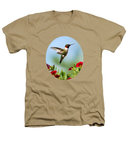 Hummingbird Frolic With Flowers Heathers T-Shirt by Christina Rollo