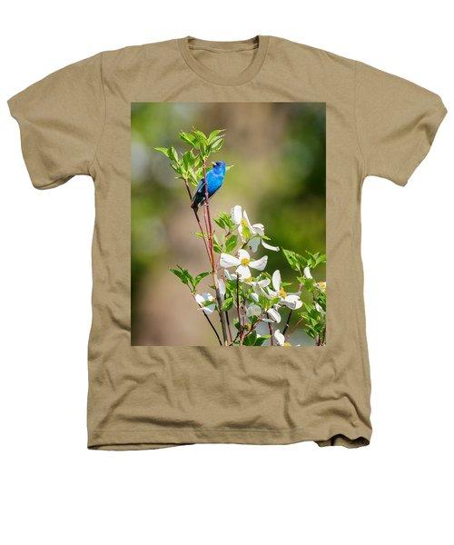 Indigo Bunting In Flowering Dogwood Heathers T-Shirt by Bill Wakeley