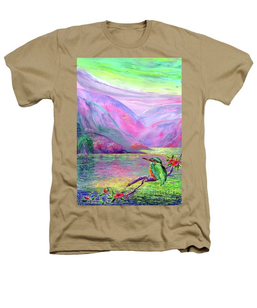 Kingfisher, Shimmering Streams Heathers T-Shirt by Jane Small