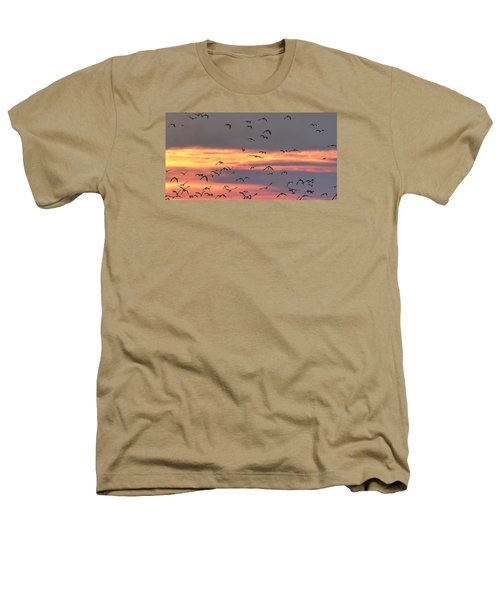 Lapwings At Sunset Heathers T-Shirt by Jeff Townsend