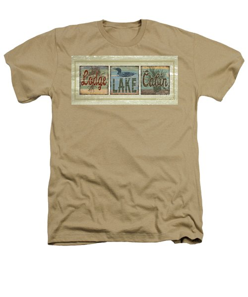 Lodge Lake Cabin Sign Heathers T-Shirt by Joe Low