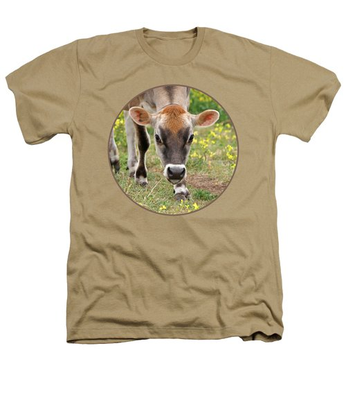Look Into My Eyes - Jersey Cow - Square Heathers T-Shirt by Gill Billington