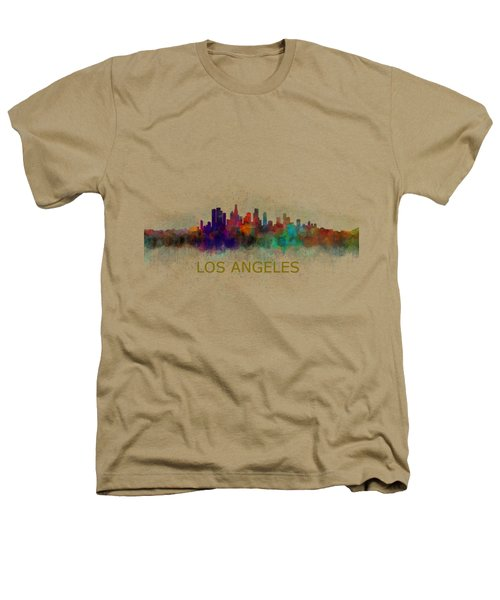 Los Angeles City Skyline Hq V4 Heathers T-Shirt by HQ Photo