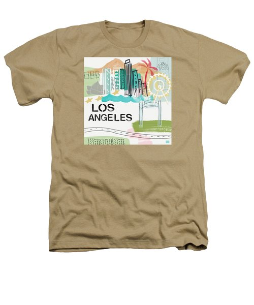 Los Angeles Cityscape- Art By Linda Woods Heathers T-Shirt by Linda Woods