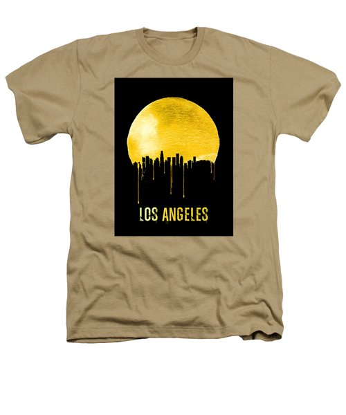 Los Angeles Skyline Yellow Heathers T-Shirt by Naxart Studio