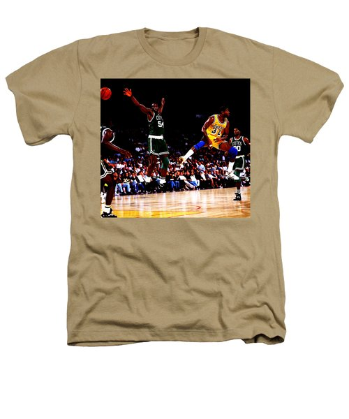 Magic Johnson No Look Pass 7a Heathers T-Shirt by Brian Reaves