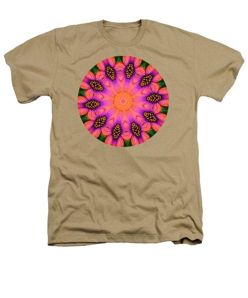 Mandala Salmon Burst - Prints With Salmon Color Background Heathers T-Shirt by Hao Aiken