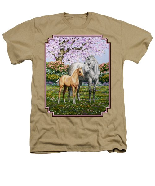 Mare And Foal Pillow Pink Heathers T-Shirt by Crista Forest