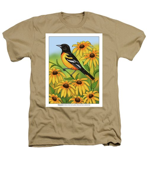Maryland State Bird Oriole And Daisy Flower Heathers T-Shirt by Crista Forest
