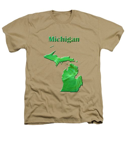 Michigan Map Heathers T-Shirt by Roger Wedegis