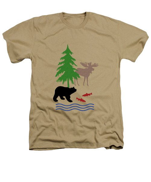 Moose And Bear Pattern Aged Heathers T-Shirt by Christina Rollo