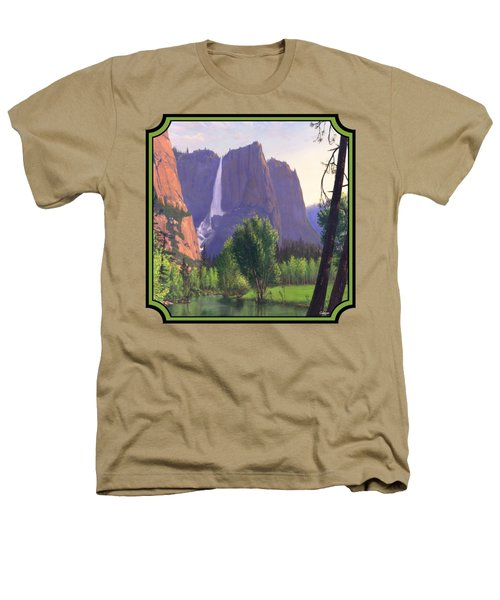 Mountains Waterfall Stream Western Landscape - Square Format Heathers T-Shirt by Walt Curlee