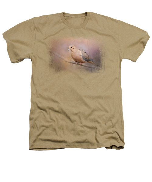 Mourning Dove On A Winter Evening Heathers T-Shirt by Jai Johnson