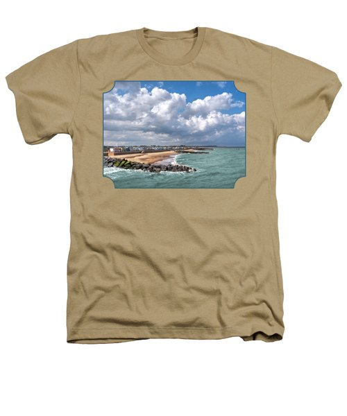 Ocean View - Colorful Beach Huts Heathers T-Shirt by Gill Billington
