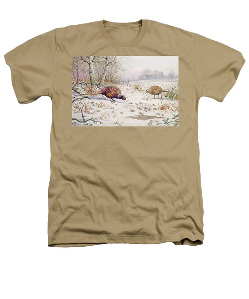 Pheasant And Partridge Eating  Heathers T-Shirt by Carl Donner