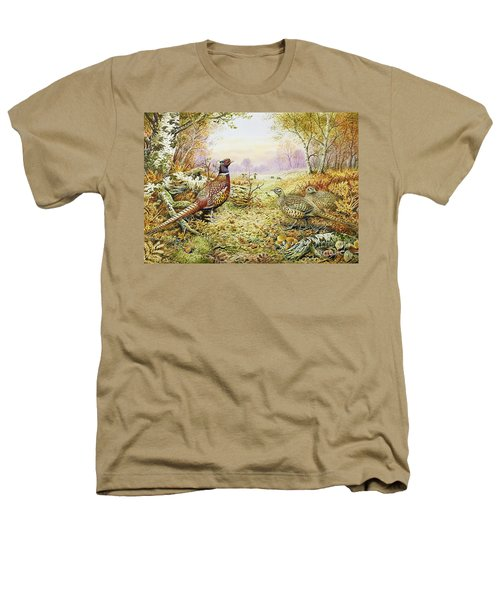 Pheasants In Woodland Heathers T-Shirt by Carl Donner