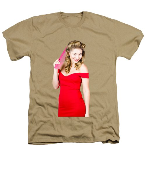 Pin-up Styled Fashion Model With Classic Hairstyle Heathers T-Shirt by Jorgo Photography - Wall Art Gallery
