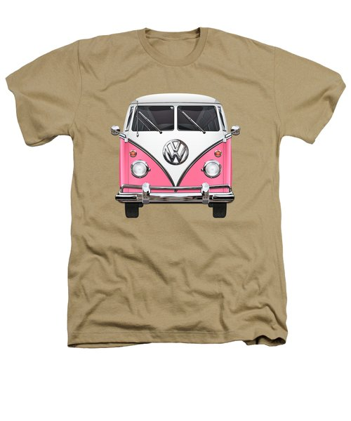 Pink And White Volkswagen T 1 Samba Bus On Yellow Heathers T-Shirt by Serge Averbukh