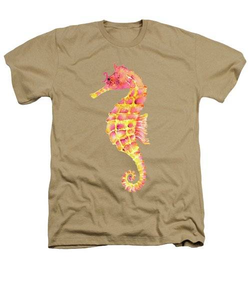 Pink Yellow Seahorse - Square Heathers T-Shirt by Amy Kirkpatrick