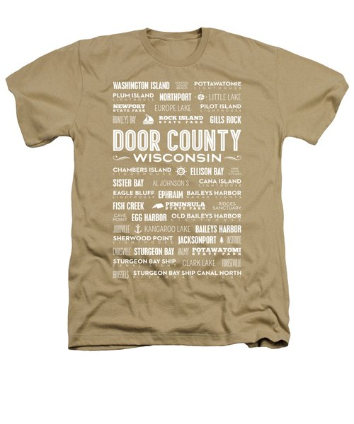 Places Of Door County On Coral Heathers T-Shirt by Christopher Arndt