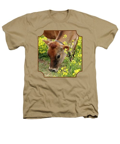 Pretty Jersey Cow - Vertical Heathers T-Shirt by Gill Billington