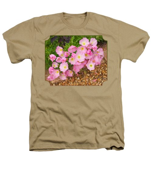 Pretty Pink Rock Roses In The Rain Heathers T-Shirt by Gill Billington