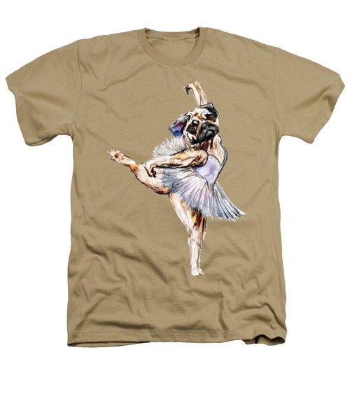 Pug Ballerina Dog Heathers T-Shirt by Notsniw Art