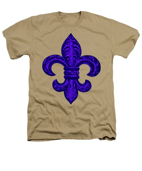Purple French Fleur De Lys, Floral Swirls Heathers T-Shirt by Tina Lavoie